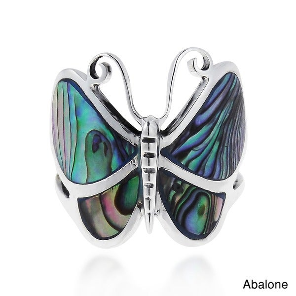 Handmade Sterling Sliver Chic Butterfly Motif Ring (Thailand)