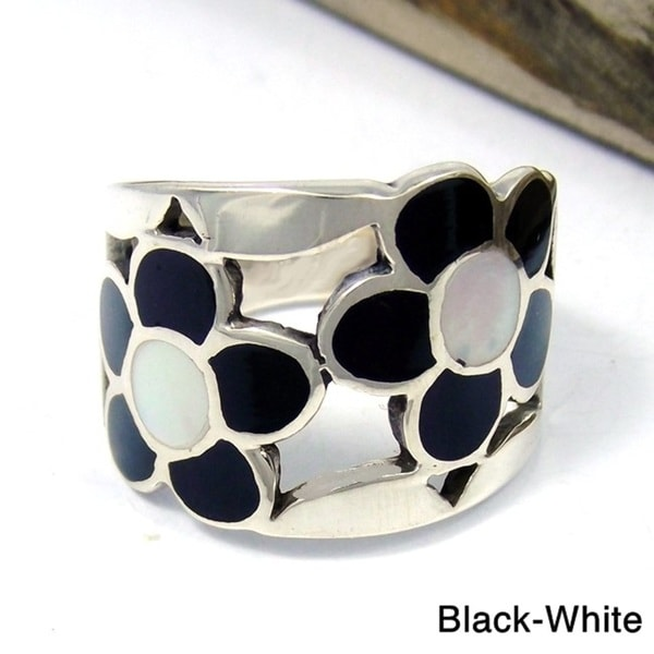 Handmade Sterling Silver Dazzling Flower Mosaic Stone Ring (Thailand)