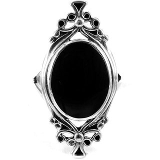 Sterling Silver Oval Black Onyx Ring (Thailand)