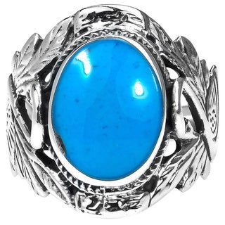 Handmade Sterling Silver Beautiful Couple Swan Oval Turquoise Ring (Thailand)