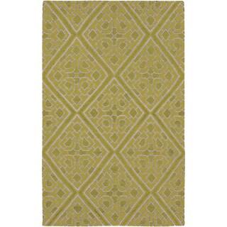 Hand-woven Agatone Flatweave Reversible Wasabi Wool Rug (5' x 8')
