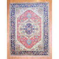 Herat Oriental Indo Hand-knotted Heriz Red/ Navy Wool Rug (9' x 12')