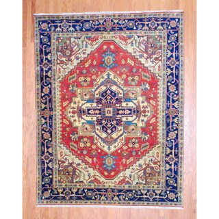 Herat Oriental Indo Hand-knotted Heriz Red/ Navy Wool Rug (8' x 10')