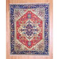 Handmade Herat Oriental Indo Heriz Red/ Navy Wool Rug (India) - 8' x 10'