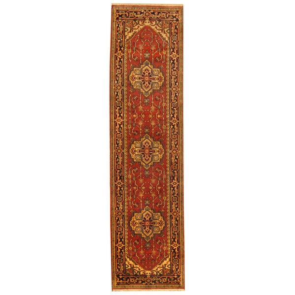 12 10 X 14 11 Persian Karajeh Hand Knotted Wool: Herat Oriental Indo Hand-knotted Heriz Red/ Navy Wool Rug