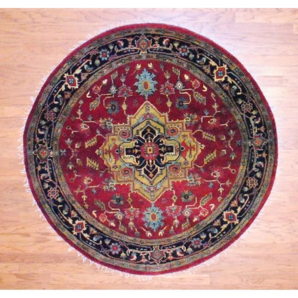 Herat Oriental Indo Hand-knotted Heriz Red/ Black Wool Rug (6' Round)