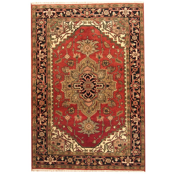 12 10 X 14 11 Persian Karajeh Hand Knotted Wool: Herat Oriental Indo Hand-knotted Heriz Red And Black Wool