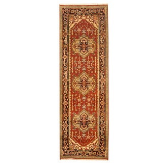 Herat Oriental Indo Hand-knotted Heriz Red/ Navy Wool Rug (2'6 x 8') (India)