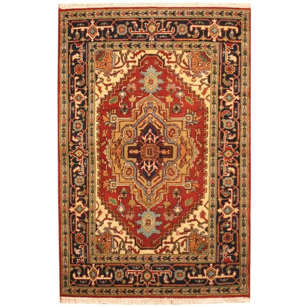 Herat Oriental Hand Tufted Wool Red Black Area Rug: Herat Oriental Indo Hand-knotted Indo Heriz Red/ Black