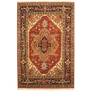 Herat Oriental Indo Hand-knotted Indo Heriz Red/ Black Wool Rug (4' x 6') - 4' x 6'