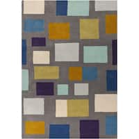Hand-tufted Broncos Multicolored Geometric Wool Area Rug - 5' x 8'