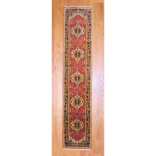 Herat Oriental Indo Hand-knotted Heriz Red/ Black Wool Rug (2'6 x 12') (India) - 2'6 x 12'