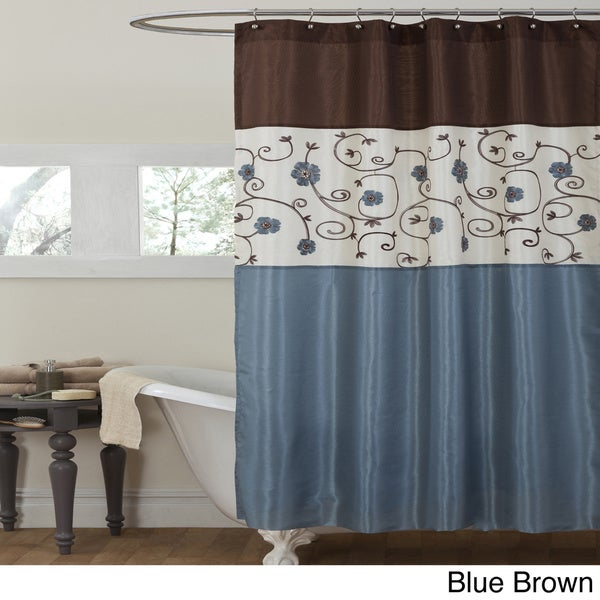 Blue And Tan Curtains: Lush Decor Royal Garden Shower Curtain