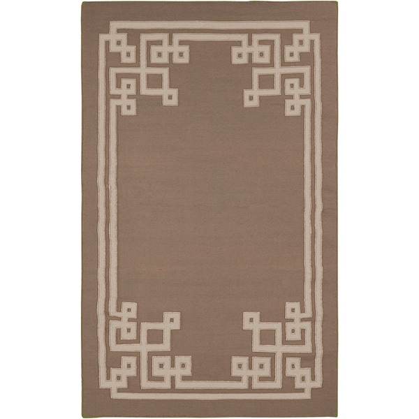 Hand-woven Ackley Reversible Dark Taupe Wool Rug (2' x 3')