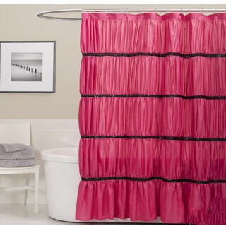 Lush Decor Twinkle Pink Shower Curtain