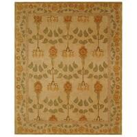 Safavieh Handmade Anatolia Oriental Traditional Ivory/ Green Hand-spun Wool Rug - 11' x 15'