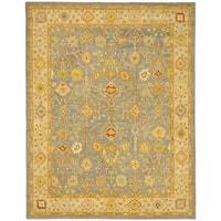 Safavieh Handmade Oushak Slate Blue/ Ivory Wool Rug - 12' x 18'