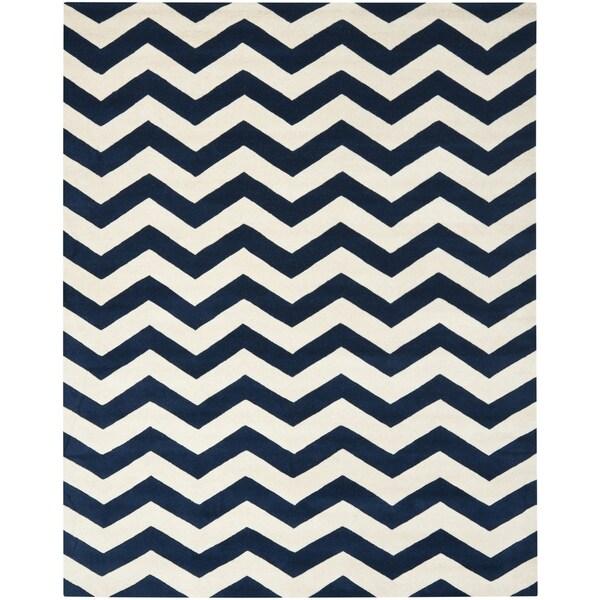 Safavieh Handmade Moroccan Chatham Chevron Dark Blue Wool Rug (10' x 14')