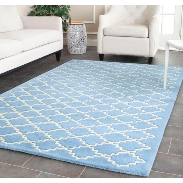 Safavieh Handmade Moroccan Chatham Blue Grey Wool Rug - 8'9 x 12'