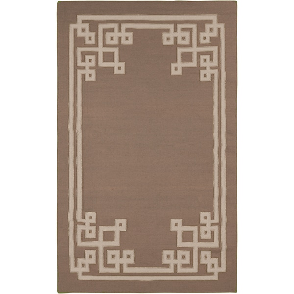 Hand-woven Ackley Reversible Dark Taupe Wool Area Rug - 5' x 8'