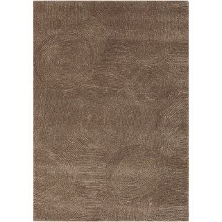 Hand-woven Casual Rangers Solid Brown Wool Rug (2' x 3')
