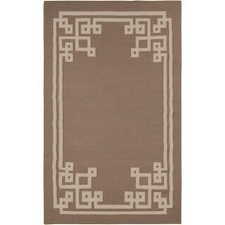Hand-woven Ackley Flatweave Reversible Dark Taupe Wool Rug (8' x 11')