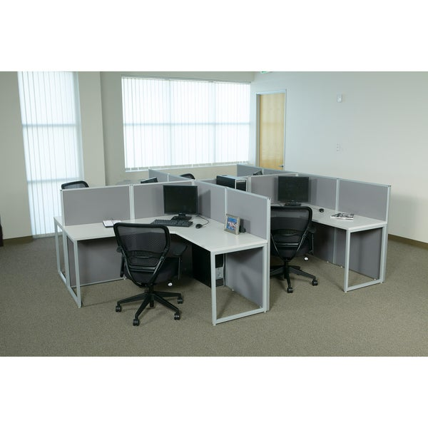 office star box office 4 desk l shape cubicle workstation