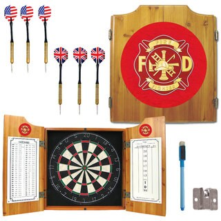 Fire Fighter Dart Board Cabinet Set