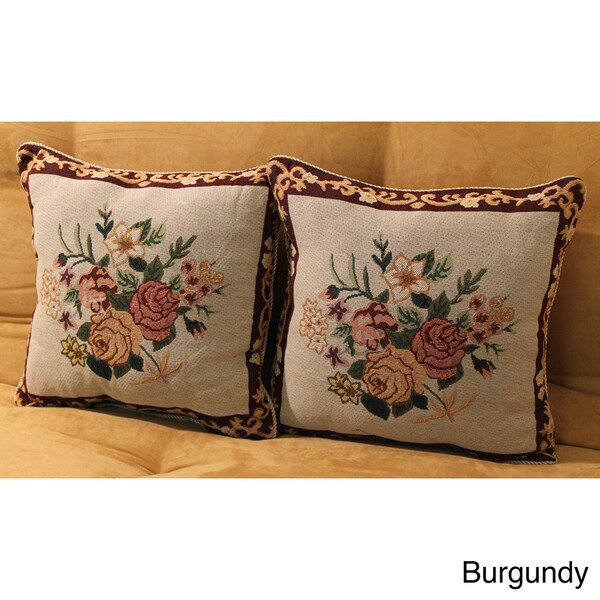 Tapestry Corded Rose Bouquet Throw Pillows (Set of 2)