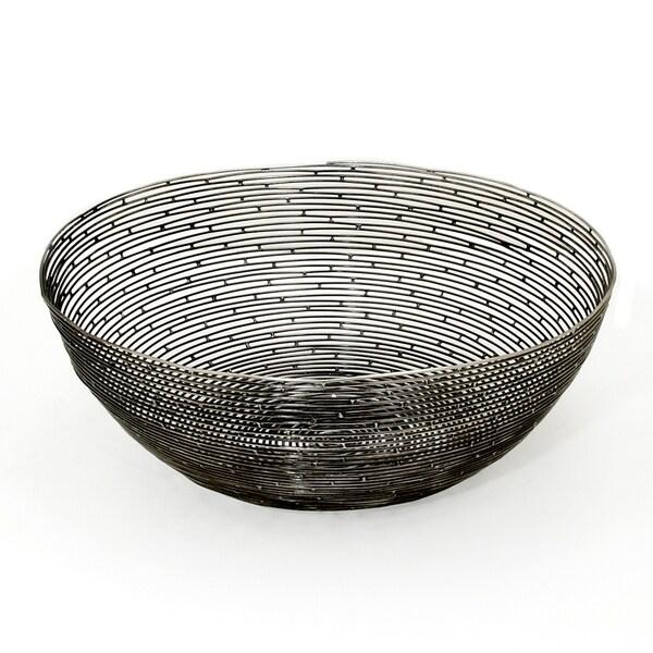 Red Vanilla 'Orbit' Ornamental Black Iron Centerpiece Bowl