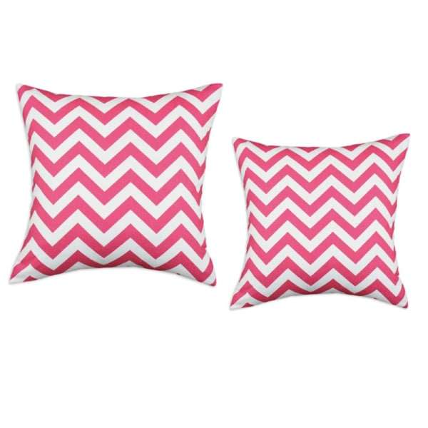 Zig Zag Candy Pink-White 17-Inch Hypoallergenic Decorative Pillow (Set of 2)