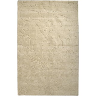 Loomed Pitalito Beige Solid Damask Pattern Wool Rug (2' x 3')