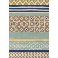 Hand-tufted Bello Blue Multi-pattern Wool Area Rug - 5' x 8'