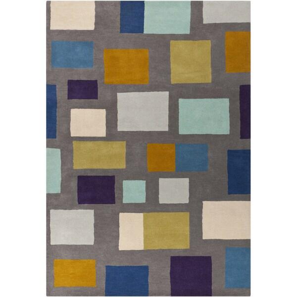 Hand-tufted Broncos Multicolored Geometric Wool Rug (3'3 x 5'3)