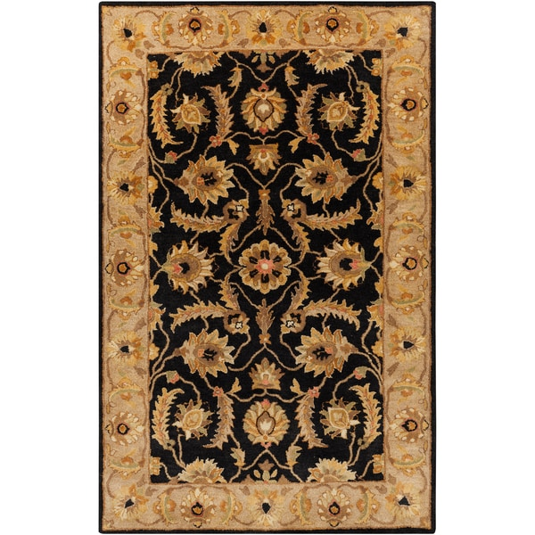 Hand-tufted Actone Floral Border Caviar Semi-worsted New Zealand Wool Area Rug - 8' x 11'