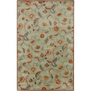 Hand-tufted Owen Floral Light Jade Semi-worsted New Zealand Wool Rug (9' x 13')