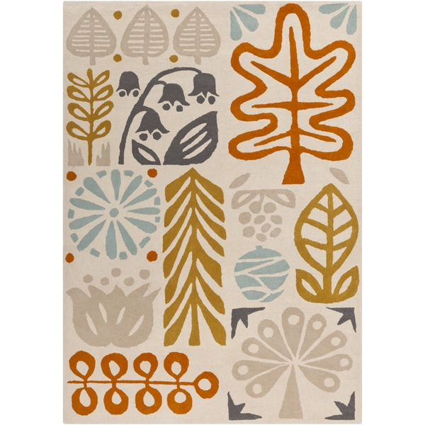 Hand-tufted Novelty Tunja Ivory Floral Wool Rug (8' x 11')