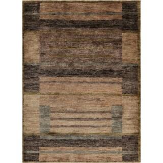 Hand-woven Casual Tumaco Brown Abstract Hemp Rug (2' x 3')