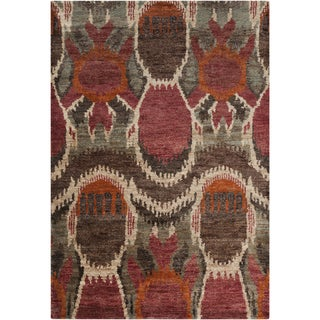 Hand-woven Abstract Turbo Red Abstract Hemp Rug (5' x 8')