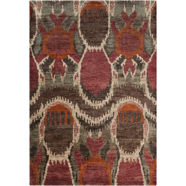Hand-woven Abstract Turbo Red Abstract Hemp Area Rug (5' x 8')