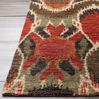 Hand-woven Abstract Turbo Red Abstract Hemp Area Rug - 2' X 3'