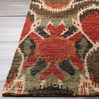 Hand-woven Abstract Turbo Red Abstract Hemp Rug (3'3 x 5'3)