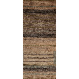 Hand-woven Casual Tumaco Brown Abstract Hemp Rug (2'6 x 8')