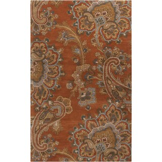 Hand-tufted Transitional Arauca Orange Floral New Zealand Wool Rug (2' x 3')