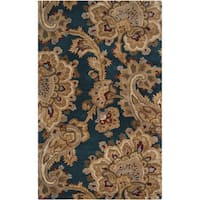 Hand-tufted Transitional Tierralta Blue Floral New Zealand Wool Area Rug - 5' x 8'