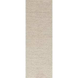 Hand-woven Minnetonka Casual Solid Ivory Wool Rug (2'6 x 8')