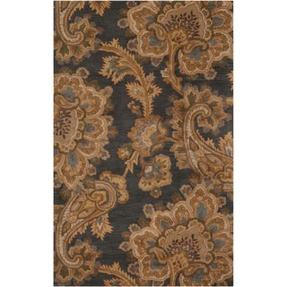 Hand-tufted Transitional Funza Grey Floral New Zealand Wool Rug (8' x 11')