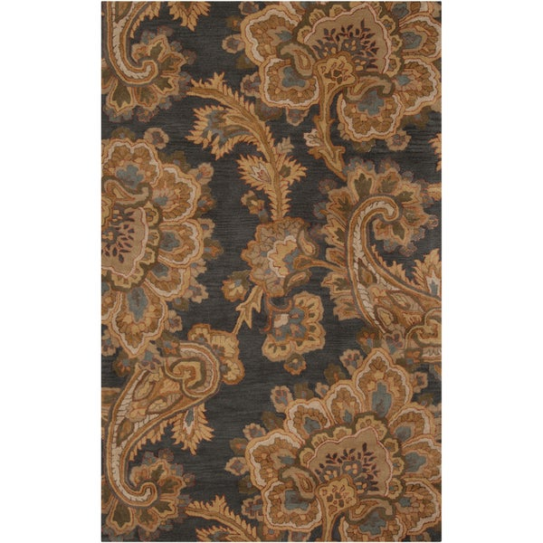 Hand-tufted Transitional Funza Grey Floral New Zealand Wool Area Rug - 8' X 11'