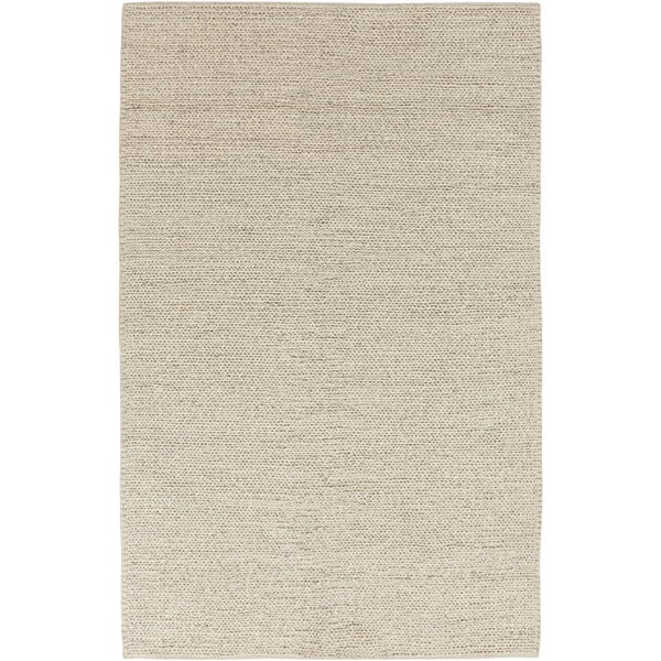 Hand-woven Minnetonka Casual Solid Ivory Wool Area Rug - 5' x 8'