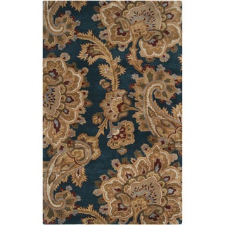 Hand-tufted Blue Floral New Zealand Wool Rug (2' x 3')